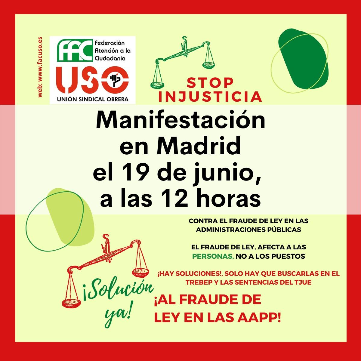 19 DE JUNIO- VOLVEMOS A TOMAR LAS CALLES DE MADRID